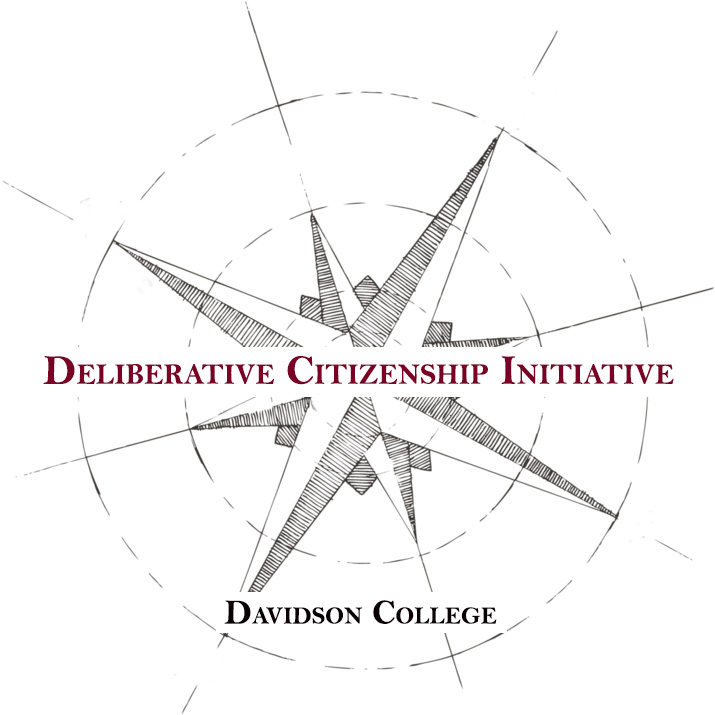 "Image of a compass superimposed by the text ""Deliberative Citizenship Initiative"" and ""Davidson College.""  Clicking on this image leads to the Initiative page."